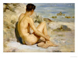 Boy on a Beach, 1912 Premium Giclee Print by Henry Scott Tuke