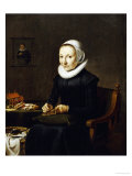 Portrait of an Old Lady, Aged 54, Embroidering, Dutch School, circa 1650 Poster