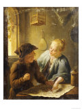 A Youth and a Young Woman Playing the Jeu de l&#39;Oie in an Interior, 1743 Giclee Print by Louis De Moni