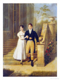 Portrait of a Lady and a Gentleman on the Steps of a Chateau Giclee Print by Anthelme Francois Lagrenee