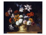 Tulips, Snowballs and Other Flowers in a Sculpted Urn on a Ledge Giclee Print by Peter Casteels