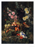 A Still Life of Flowers and a Basket of Fruit Giclee Print by Johan Laurentz Jensen