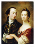 A Double Portrait of a Lady and a Gentleman, English School, 18th Century Posters