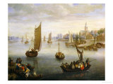 A River Landscape with Ferry Boats a Village Beyond Giclee Print by Charles Beschey