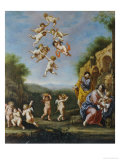 The Rest on the Flight Into Egypt with Putti Bearing Fruit and Disporting Gicl&#233;e-Druck von Adriaen Van Nieulandt