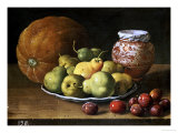 Pears on a Plate, a Melon, Plums, and a Decorated Manises Jar with Plums on a Wooden Ledge Prints by Luis Melendez