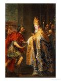 The Emporer Theodosius Before Saint Ambrose Giclée-Druck von Abraham Van Diepenbeck