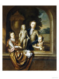 A Group Portrait of Three Children Standing at a Niche, a Garden Beyond Prints by Barent Graat