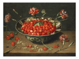 Strawberries in a Bowl Giclee Print by Jacob van Hulsdonck