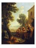 Peasants Drinking by a Farmhouse Giclee Print by Paolo Monaldi