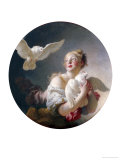 Girl Holding a Dove (Said to Be Portrait of Marie-Catherine Colombe) Reproduction proc&#233;d&#233; gicl&#233;e par Jean-Honor&#233; Fragonard