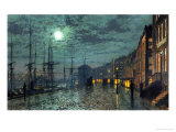 City Docks by Moonlight Print by John Atkinson Grimshaw