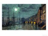 Kaupungin satama-allas kuunpaisteessa Giclée-vedos tekijänä John Atkinson Grimshaw