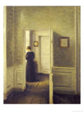 An Interior with a Woman, Painted in 1913 Posters by Vilhelm Hammershoi
