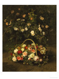 Roses in a Basket Beside a Rose Bush, 1846 Giclee Print by Johan Laurentz Jensen