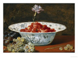 Strawberries with a Carnation in a Chinese Wanli Bowl and Grapes on a Ledge Prints by Frans Snyders