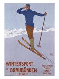 Wintersport in Graubunden, 1906 Gicléedruk van Walter Koch