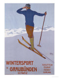 Wintersport in Graubunden, 1906 Premium Giclee Print by Walter Koch