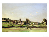 An Extensive Landscape with a Ploughman and a Village Beyond, 1887 Giclee Print by Henri-Joseph Harpignies