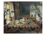 An Interior with a Still Life, the Parlour at Sandalstrand Print by Nikolai Astrup