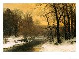 A Winter River Landscape Giclée-tryk af Anders Andersen-Lundby