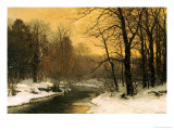 A Winter River Landscape Prints by Anders Andersen-Lundby