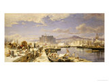 The Harbour of Naples with Men Unloading Fishing Boats Giclee Print by Franz Theodor Aerni