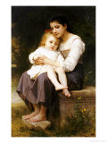 The Eldest Sister, 1886 Affiche par William Adolphe Bouguereau