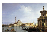 The Island of San Giorgio Maggiore, Venice with the Punta Della Dogana and Numerous Vessels Reproduction procédé giclée par Canaletto