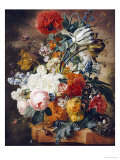 Tulips, an Opium Poppy, Hyacinths, Anemones, Auricolas, Convolvuli, a Peony and Other Flowers, 1782 Premium Giclee Print by Wybrand Hendriks
