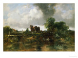 A Wooded River Landscape with Horses Working a Lock Giclee Print by Frederick Walters Watts