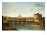 Castel Santangelo and the Ponte Santangelo, Rome, with St. Peters and the Vatican Giclee Print by Antonio Joli