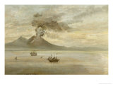 The Neapolitan Coast with Vesuvius Erupting Giclee Print by Johan Christian Clausen Dahl