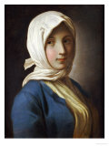 A Girl, Half-Length, in a Blue Jacket and White Headscarf Giclée-tryk af Pietro Antonio Rotari