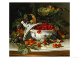 Plums, Grapes and Raspberries in a Porcelain Tureen, 1885 Giclee Print by Sophus Pedersen