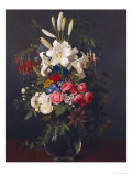 Lilies, Roses, Passion Flowers, Fuschias and Other Flowers in a Glass Vase, 1859 Giclee Print by Otto Didrik Ottesen