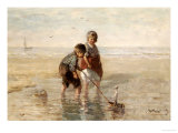 Children Playing by the Seaside Giclee Print by Jozef Israels