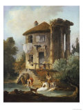 Washerwomen Outside the Temple of the Sibyl, Tivoli Prints by Hubert Robert