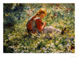 A Young Girl in a Flower Garden Posters by Evert Pieters