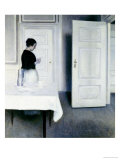 Interior with a Woman Reading a Letter, Strandgade 30 Giclee Print by Vilhelm Hammershoi