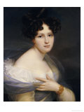 Portrait of a Lady, Half Length, Her Left Hand Holding a Billowing Chiffon Shawl to Her Breast Giclee Print by Francois Joseph Kinson