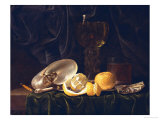 Nautilus Shell, a Roemer Beer Glass, an Orange and a Lemon on a Pewter Plate Giclee Print by Christiaen Luyckx