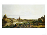 A View of Dresden from the Right Bank of the River Elbe Above the Augustusbrucke Giclee Print by Bellotto Bernardo