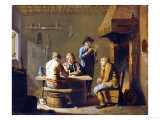 Peasants Playing Cards by a Cottage Fire Giclee Print by Justus Juncker