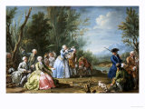 Two Court Ladies Out Shooting with Their Retinue in a Wooded River Landscape Giclee Print by Amigoni Jacopo