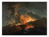 Vesuvius Erupting at Night, Observed by Elegant Gentlemen Poster von Jacques Antoine Volaire