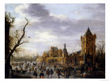 A View of Kasteel Batestein Vianen, in Winter Giclee Print by Jan Van Goyen