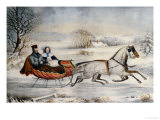 The Road, Winter, 1853 Giclee Print by Currier &amp; Ives 