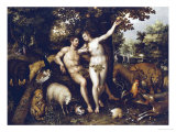 Eve Tempting Adam, the Creation of Eve and the Expulsion from Paradise Beyond Giclee Print by Hendrik De Clerck
