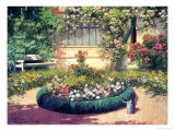 A Sunlit Flower Garden Prints by Laszlo Neogrady